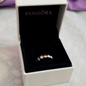 ‼️ PANDORA 2 Tone Silver and 14k Gold Hearts Ring